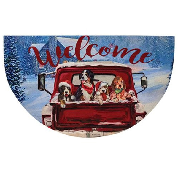 Red Truck Christmas Welcome Mat G90921 By CWI Gifts