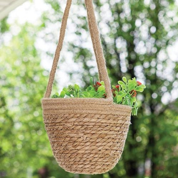 Jute Hanging Flower Pot Holder Small GBB9A404M By CWI Gifts