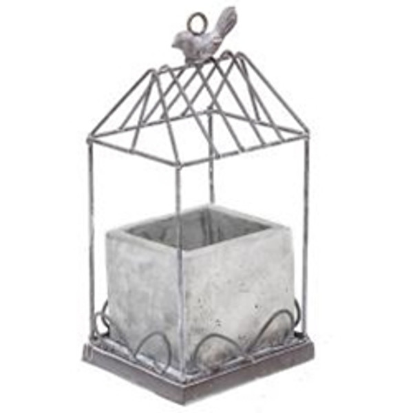 Graywash Metal Birdcage With Cement Planter GQX19351 By CWI Gifts