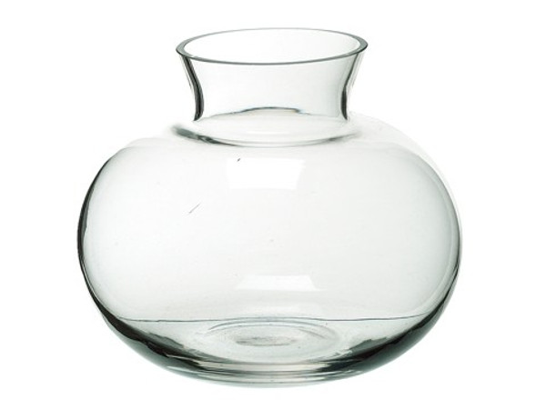 """5.5""""H X 6.5""""D Glass Vase Clear ZCG295-CW By Silk Flower"""