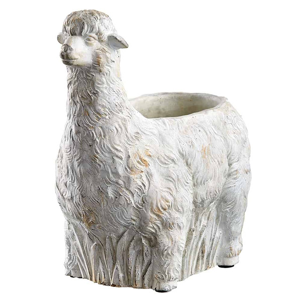 "11.81""H X 12.6""L Llama Planter Antique White AG0052-WH/AT By Silk Flower"