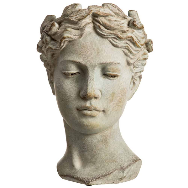 "10"" Female Bust Garden Planter Antique Gray AG0581-GY/AT By Silk Flower"