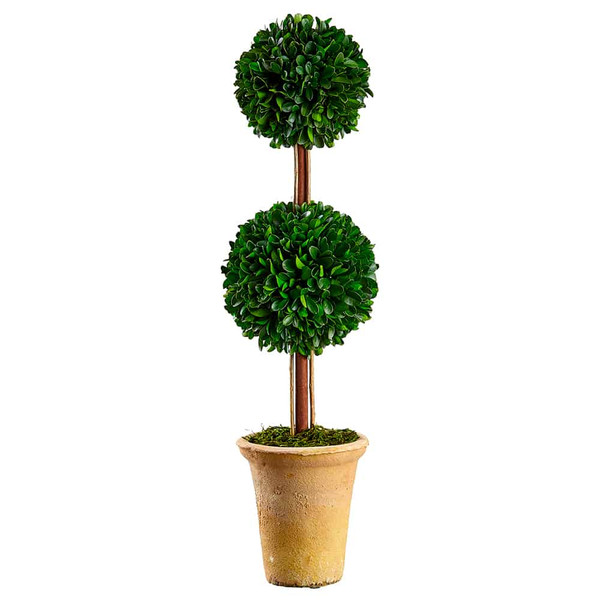 """21"""" Preserved Boxwood Double Ball Topiary In Clay Pot Green KPB127-GR By Silk Flower"""