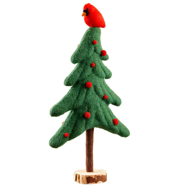 "17.3"" Cardinal On Christmas Tree Table Top Green Red (Pack Of 4) XAT928-GR/RE By Silk Flower"