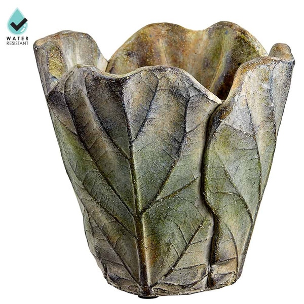 """5.7""""H X 6""""D Fiddle Leaf Cement Planter Green (Pack Of 2) ACE106-GR By Silk Flower"""