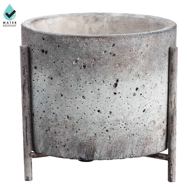 """5.5""""H X 5.7""""W Cement Planter With Stand Antique Gray (Pack Of 2) ACE140-GY/AT By Silk Flower"""