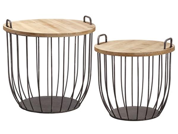 """18.75""""D-23""""D Basket Side Table(2 Ea/Set)Brown Rust AMF164-BR/RU"""