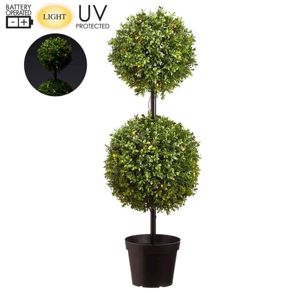 """37"""" Battery Operated UvProtected Boxwood Two BallTopiary 50 Led Lights In Pot G LPB251-GR By Silk Flower"""
