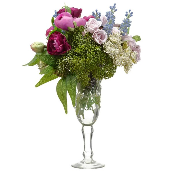 "12""H X 8""W X 9.5""L Ranunculus/Rose In Vintage Glass VasePurple Green WF9316-PU/GR By Silk Flower"