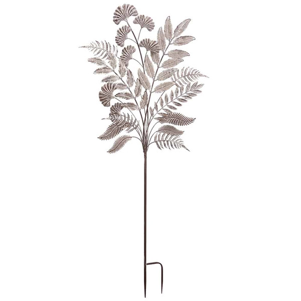 """29""""H X 1.2""""W X 60""""L Metal Leaf Garden Stake Antique Gray (Pack Of 2) AG1199-GY/AT By Silk Flower"""