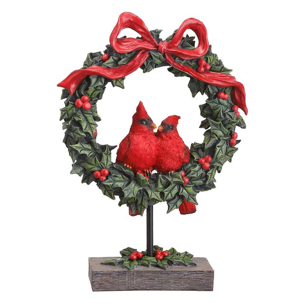 """13.5"""" Cardinal Holly Wreath Table Top Red Green (Pack Of 4) XSI555-RE/GR By Silk Flower"""