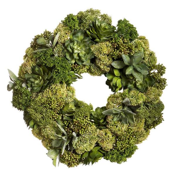 "20""H X 20""W X 20""LSucculent/Sedum WreathGreen WF9389-GR By Silk Flower"