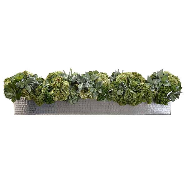 "10""H X 11""W X 40""L Succulent/Sedum In Planter Green WF9394-GR By Silk Flower"