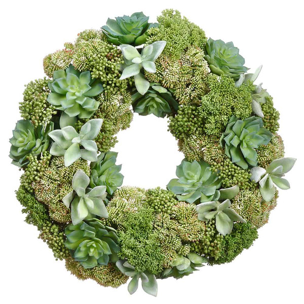 "19"" Succulent/Sedum Wreath Two Tone Green ZWS007-GR/TT By Silk Flower"
