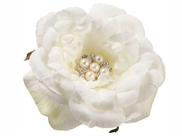 "4.3"" Pearl Rose Napkin Ring  White 24 Pieces Fnr325-Wh"
