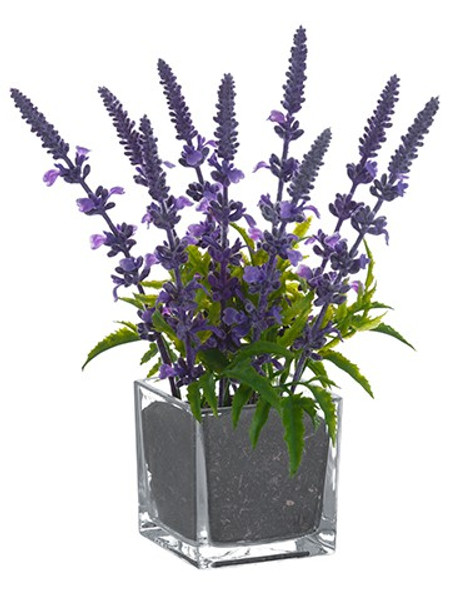 "10"" Lavender In Glass Vase Lavender 6 Pieces LFL721-LV"