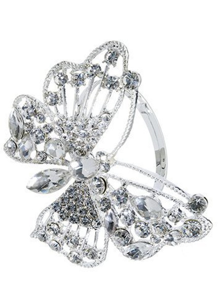"2.5"" Rhinestone Butterfly Napkin Ring Clear 12 Pieces Xan143-Cw"