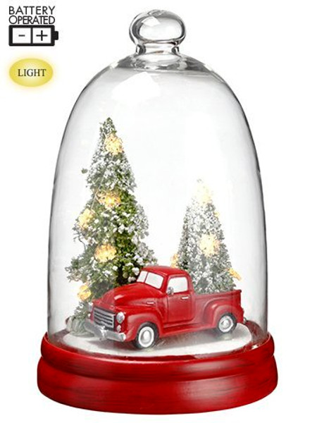 "10""H Battery Operated Car/Christmas Tree In Glass Dome With Light Red Green 2 Pieces XAT669-RE/GR"