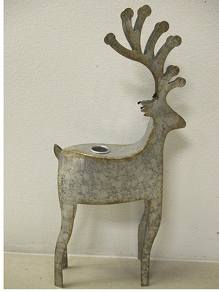 """16.5"""" Reindeer Taper Holder Antique Silver 2 Pieces Xsi524-Si/At"""