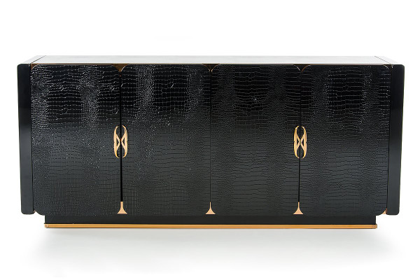 A&X Talin Modern Black Crocodile & Rosegold Buffet