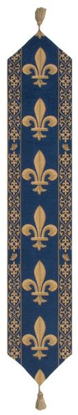 Fleur De Lys Blue V European Table Runners WW-11514-15390