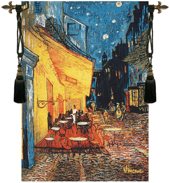Cafe Terrace At Night By Van Gogh European Tapestry WW-5238-7253