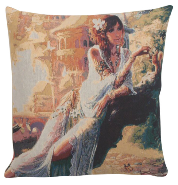 Flowers In Her Hair Decorative Pillow Cushion Cover WW-9505-13376