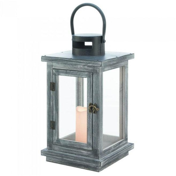 Gray Wash Lantern With Led Candle 10018493 By Zingz & Thingz