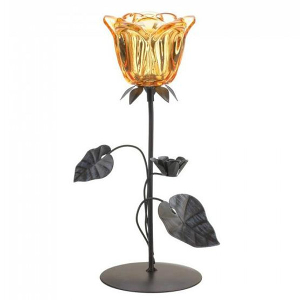 Amber Glass Floral Candle Stand 10018780 By Zingz & Thingz