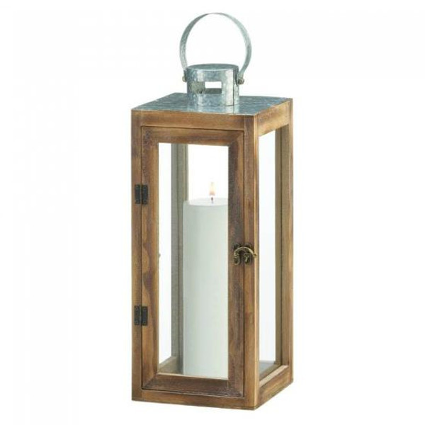 Galvanized Top Wooden Lantern 10018831 By Zingz & Thingz