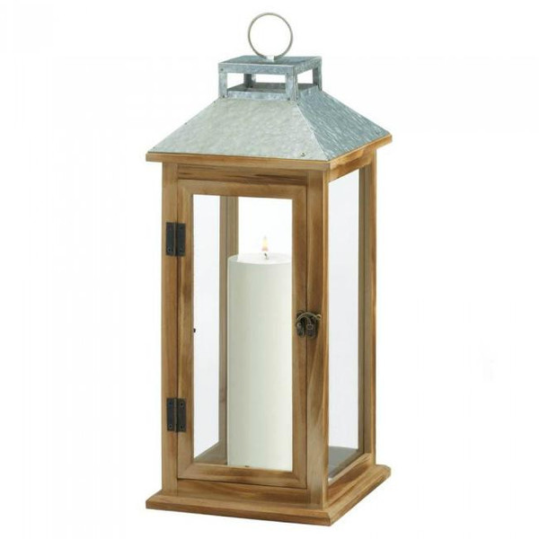 Galvanized Mixed With Wood Lantern 10018832 By Zingz & Thingz