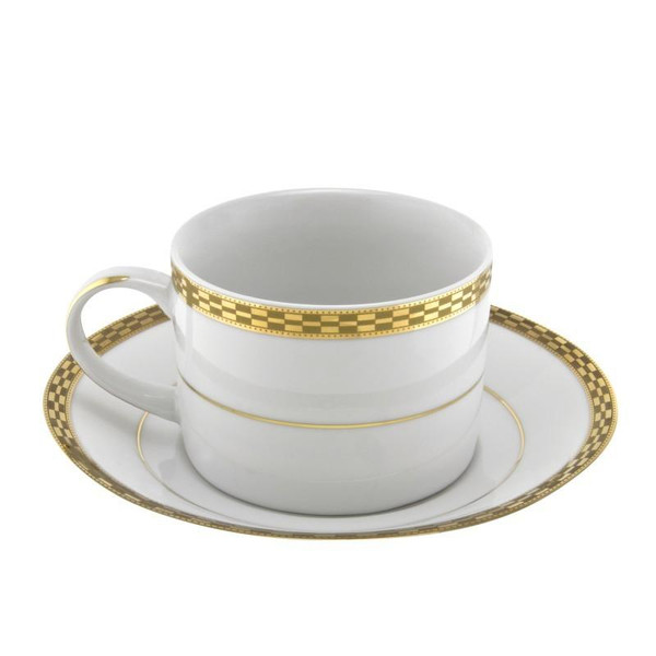 10 Strawberry Street Athens 8-Ounces Gold Can Cup/Saucer-Pack of 2 - ATH-9G