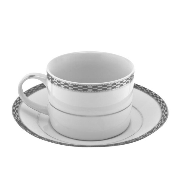 10 Strawberry Street Athens 8-Ounces Platinum Can Cup/Saucer-Pack of 2 - ATH-9P