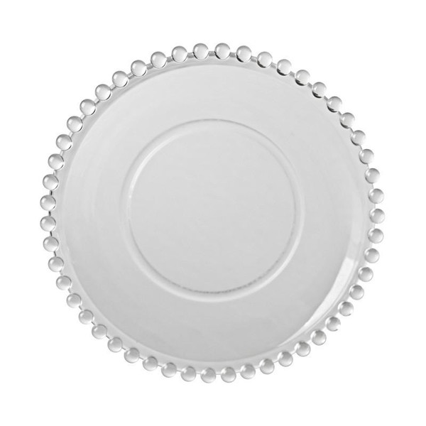 """10 Strawberry Street Belmont 11"""" Clear Dinner Plates-Pack of 2 - BC-280 - balls around edges - hobnail rimmed"""
