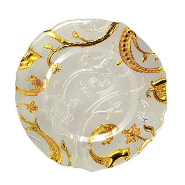 "10 Strawberry Street 13.25"" Giardano Clear & Gold Glass Charger Pack Of 6 GIARDN-340"