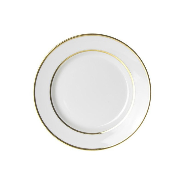 """10 Strawberry Street Gold Double Line 7.75"""" Salad/Dessert Plates- Pack Of 24 GLD0004"""