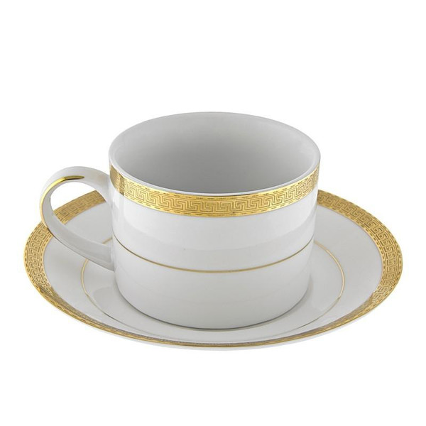10 Strawberry Street Luxor 8-Ounces Gold Can Cup/Saucer-Pack of 2 - LUX-9G