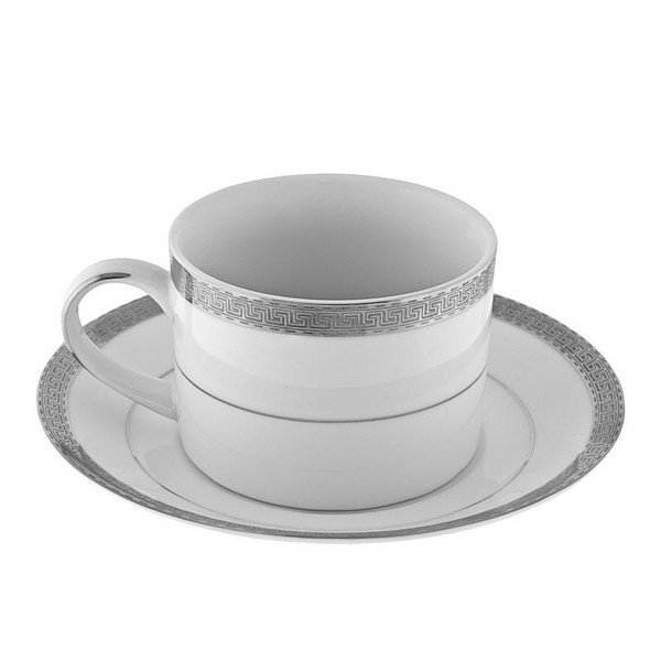 10 Strawberry Street Luxor 8-Ounces Platinum Can Cup/Saucer-Pack of 2 - LUX-9P