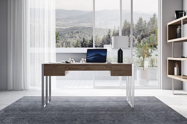 VGBBMQ2003-DESK Modrest Orcutt - Modern Walnut & Stainless Steel Desk By VIG