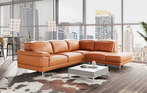 VGDDNEW YORK-RAF Accenti Italia New York - Modern Cognac Leather Raf Sectional Sofa By VIG