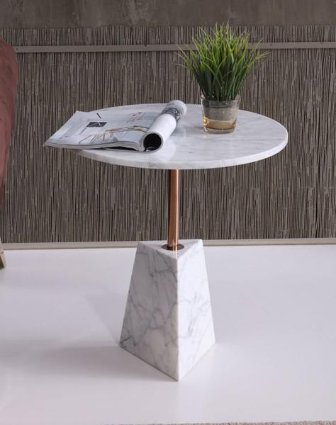VGVCET7010-WHT-ET Modrest Jeanette - Contemporary White Marble & Rosegold End Table By VIG