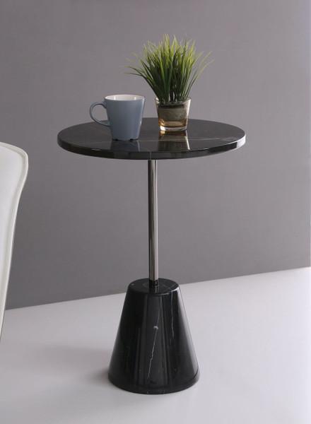 VGVCET7009-BLK-ET Modrest Bruce - Contemporary Black Marble End Table By VIG
