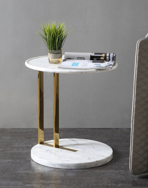 VGVCET7104-WHT-ET Modrest Aries - Contemporary White Marble & Gold End Table By VIG