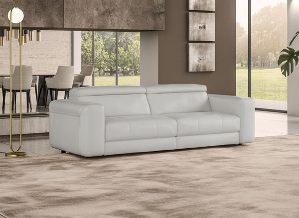 VGCCICON-GREY-9 Coronelli Collezioni Icon - Modern Italian Grey Leather Queen Size Sofa Bed By VIG