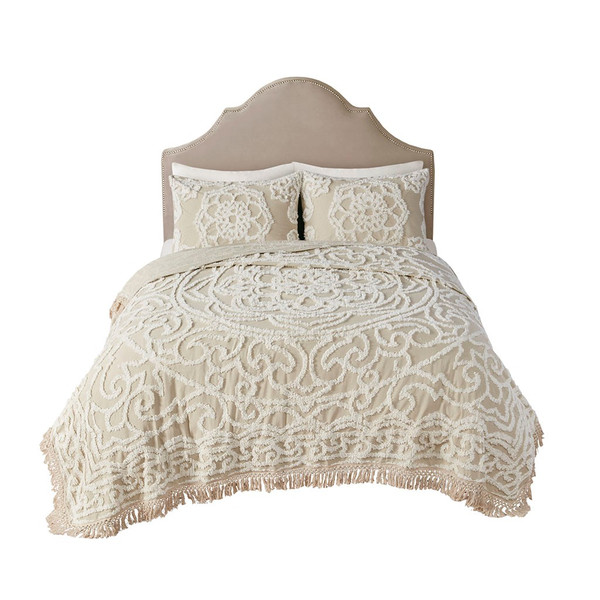 Laetitia Tufted Cotton Chenille Medallion Fringe Coverlet Set Full/Queen By Madison Park MP13-7118