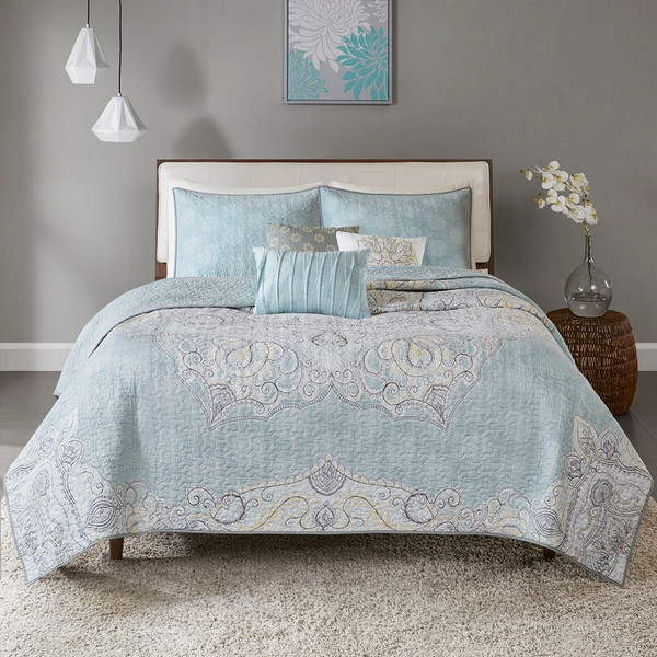 Lucinda 6 Piece Reversible Cotton Sateen Coverlet Set King/Cal King By Madison Park MP13-5271