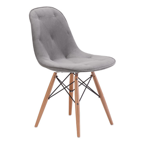 """Homeroots 18.7"""" X 21.7"""" X 31.9"""" Gray Velour Polyblend Wood Dining Chair 248904"""