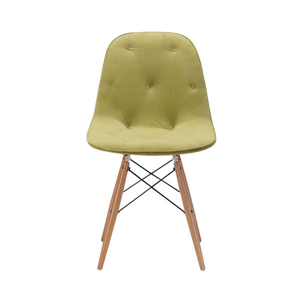 "Homeroots 18.7"" X 21.7"" X 31.9"" Green Velour Polyblend Wood Dining Chair 248905"