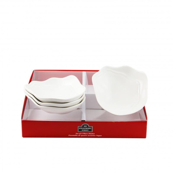 10 Strawberry Street Whittier 2-Ounces Tid Bit Red Box Wave Dishes-Pack of 2 - TBX-WAVEDSH4