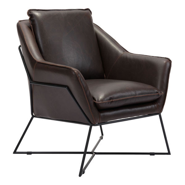 "Homeroots 29.9"" X 31.9"" X 35"" Brown Lounge Chair 296245"